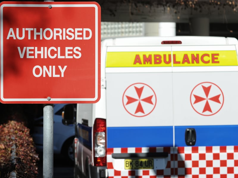 Ambulances parked in the emergency bay at St Vincent's Hospital in Darlinghurst, Sydney, Tuesday, May 22, 2012. (AAP Image/Dean Lewins) NO ARCHIVING